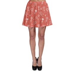 Pink Balloon Hearts Pattern Skater Skirt by CoolDesigns