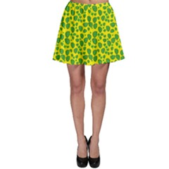 Green Abstract Pattern With Leaves Skater Skirt
