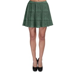 Green Pattern Of The Printed Circuit Board Skater Skirt by CoolDesigns