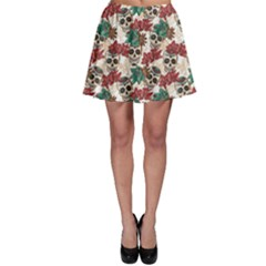 Colorful Skull Hearts And Flowers Skater Skirt by CoolDesigns