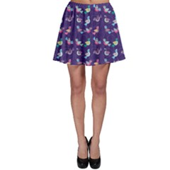 Purple With Color Pattern Birds Skater Skirt by CoolDesigns