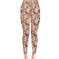 Red Floral Pattern In Retro Style Leggings by CoolDesigns