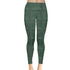 Green Pattern Of The Printed Circuit Board Leggings by CoolDesigns