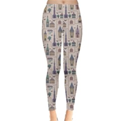 Blue Pattern Ancient Town Castles Houses Trees Birds Leggings by CoolDesigns