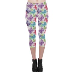Purple Floral Pattern Silhouettes Colorful Butterflies Capri Leggings by CoolDesigns