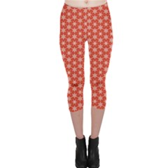 Red Red With White Snowflakes Pattern Capri Leggings