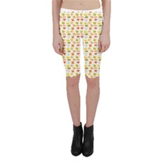 Yellow Pattern Of Basic Math Symbols Cropped Leggings by CoolDesigns