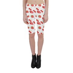 Red Pattern With Heart Cherry Strawberry Illustra Cropped Leggings by CoolDesigns