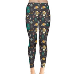 Black Halloween Cartoon Bright Leggings by CoolDesigns