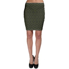 Dark Green Flower And Cross Pattern Bodycon Skirt by CoolDesigns