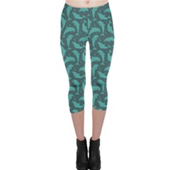 Green Mosaic Pattern With Dolphins Capri Leggings by CoolDesigns