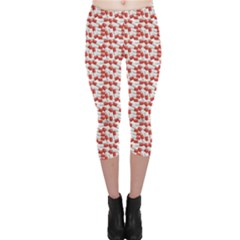 Red Medical Pills Over White Pattern Capri Leggings by CoolDesigns