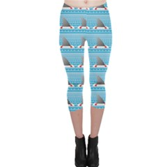 Blue Shark Fin Life Buoy Easy To Edit Capri Leggings by CoolDesigns