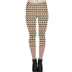 Brown Vintage Zigzag Pattern Capri Leggings