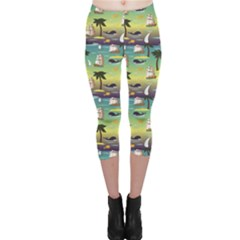 Colorful Cute Tropical Pattern With Ships Palms And Whales Capri Leggings