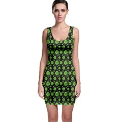 Green Shamrock Pattern Black Bodycon Dress