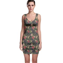 Colorful Tropical Floral Pattern Plumeria Hibiscus Flowers Bodycon Dress by CoolDesigns