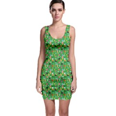 Green Snails Mushrooms Pattern Bodycon Dress