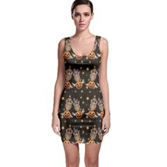 Black Halloween Two Cartoon Owls With Pumpkins Bodycon Dress by CoolDesigns