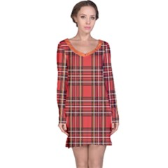 Red Black White Grid Line Pattern Long Sleeve Nightdress by CoolDesigns