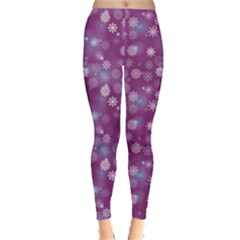 Purple-snowflakes-pattern Leggings  by CoolDesigns