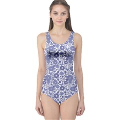 Blue Delft Blue Dutch Flowers Pattern Women s One Piece Swimsuit by CoolDesigns