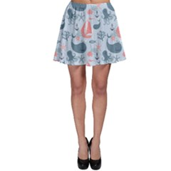 Blue Pattern With Cute Whales Sailing Octopus Skater Dress by CoolDesigns