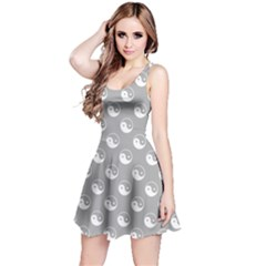 Gray Yin Yang Pattern Sleeveless Skater Dress by CoolDesigns
