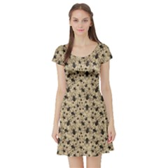 Brown Spiders Pattern Short Sleeve Skater Dress by CoolDesigns