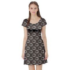 Black Retro Tv Web Flat Design Gray Pattern Short Sleeve Skater Dress by CoolDesigns