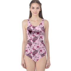 Purple Pattern Of Beautiful Pink Magic Peacocks Women s One Piece Swimsuit