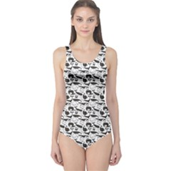Gray Vintage Whale Women s One Piece Swimsuit by CoolDesigns