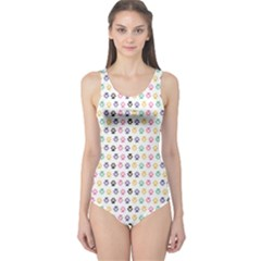 Colorful Traces Of Dog Textile Pattern Women s One Piece Swimsuit by CoolDesigns