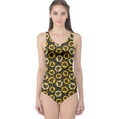 Brown Organic Food Theme Bananas Pattern Women s One Piece Swimsuit by CoolDesigns