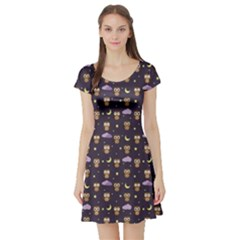 Blue Owls At Night With Stars Clouds And Moon Pattern Short Sleeve Skater Dress