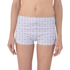 Gray Retro Pattern Polka Dot With Anchors Boyleg Bikini Bottoms by CoolDesigns