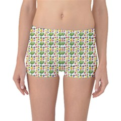Green Different Kind Of Fruits Watermelon Mango Pineapple Boyleg Bikini Bottoms by CoolDesigns