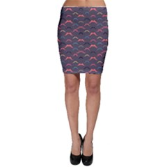 Purple Vintage Pattern With Mustache And Stripes Retro Style Bodycon Skirt by CoolDesigns