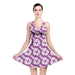 Purple With Hibiscus Flower Hawaiian Patterns Reversible Skater Dress