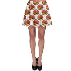 Red Cartoon Cheeseburger Pattern Colored Happy Smiling Burger Skater Dress by CoolDesigns