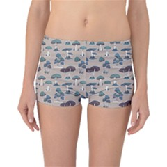 Blue Colorful Mushrooms Pattern Boyleg Bikini Bottoms