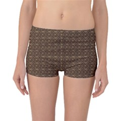 Brown Snake Skin Pattern Boyleg Bikini Bottoms by CoolDesigns
