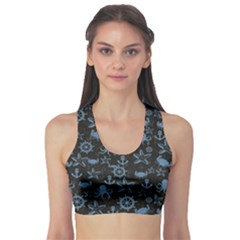 Dark Sea Life Pattern On Black In Square Format Women s Sport Bra by CoolDesigns