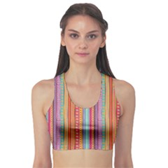 Brown Colorful Strip Abstract Stylish Design Women s Sport Bra by CoolDesigns