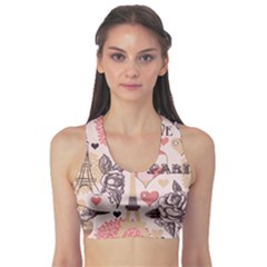 Pink Paris Pattern Women s Sport Bra by CoolDesigns