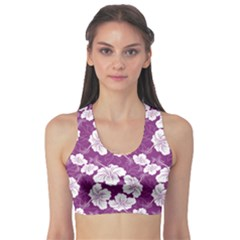 Purple With Hibiscus Flower Hawaiian Patterns Women s Sport Bra by CoolDesigns