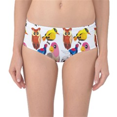 Colorful Five Cute Birds Set On White Mid Waist Bikini Bottom by CoolDesigns