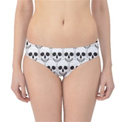 Gray Simple White Skull Pattern Hipster Bikini Bottom by CoolDesigns