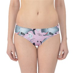 Purple Graphic Pattern Of Whales And Jellyfish On A Pink Hipster Bikini Bottom by CoolDesigns