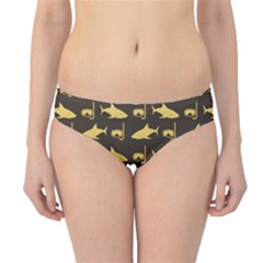Brown Image Of Sharks And Underwater Masks Hipster Bikini Bottom by CoolDesigns